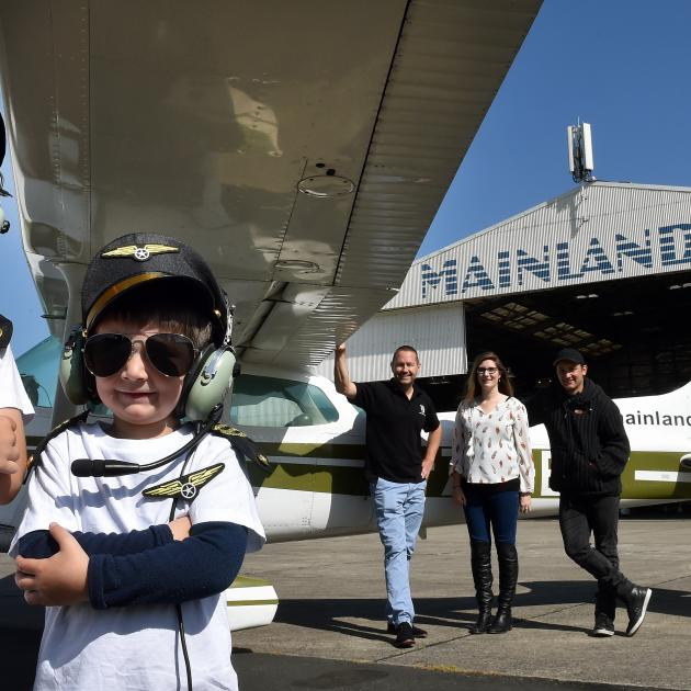 Ready to take off on a scenic flight over Dunedin are (from left) Isaac Stocker (8), Jackson...