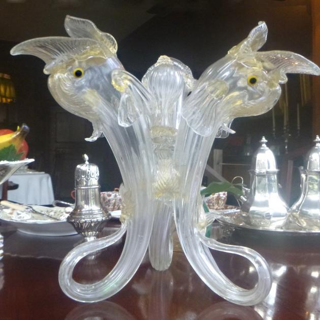 Salviati Ventian glass triple-dolphin table centrepiece. This item could be used as a vase....