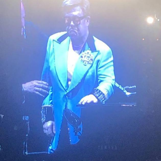A distraught Elton leaves the stage. Photo: supplied via NZ Herald