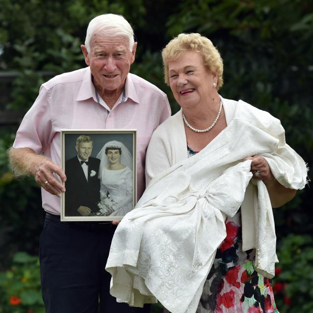 Celebrating 60 years of marriage are Charles and Wilma Burrell, of Mosgiel. Mrs Burrell holds her...