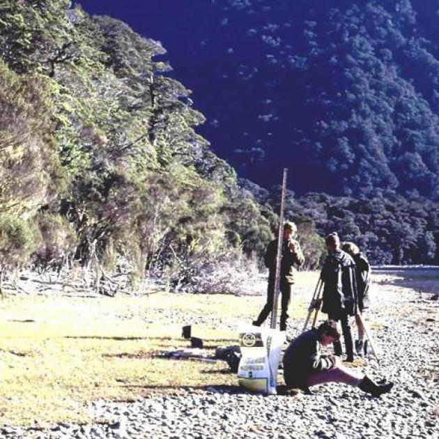 A Te Anau lakeshore survey at the Lugar Burn in 1971 to determine levels of the various...