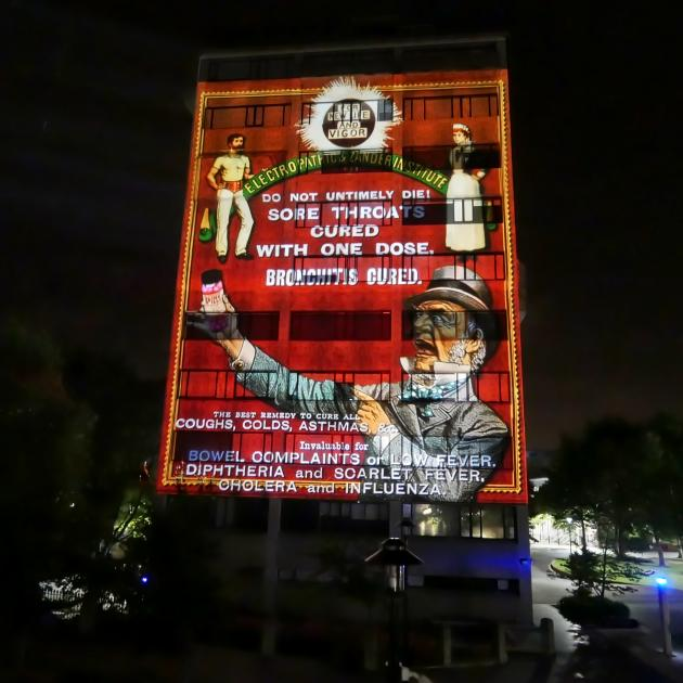 A projection on the Richardson Building at the University of Otago yesterday morning. PHOTO:...