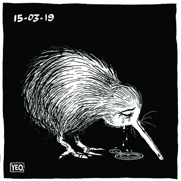The Crying Kiwi cartoon that struck such a strong chord after the Christchurch mosque shootings.