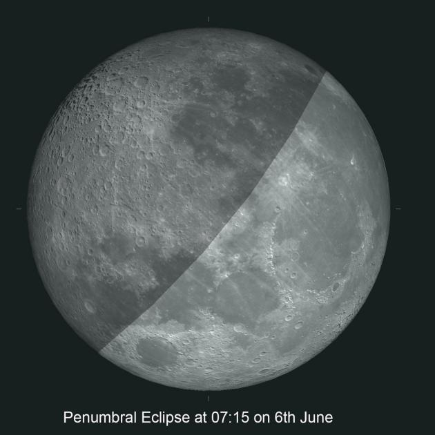 Next Saturday's penumbral eclipse at 7.15am will look something like this.
