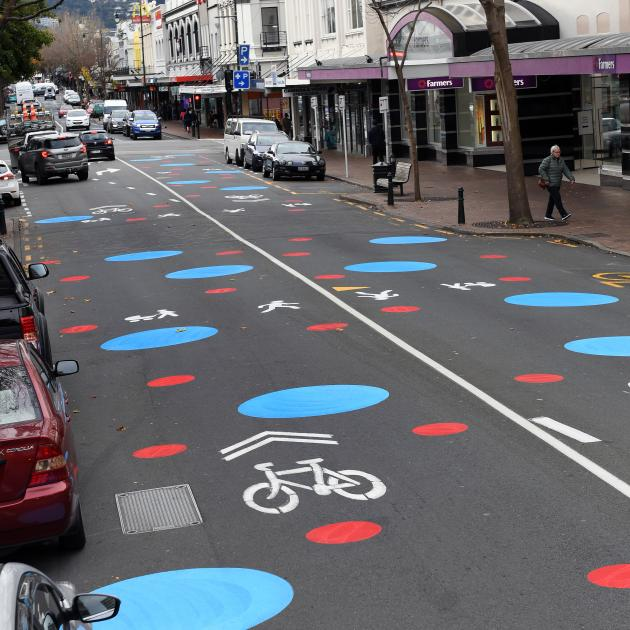 Brightly painted dots appeared on George St at the weekend to highlight that it is a shared space...