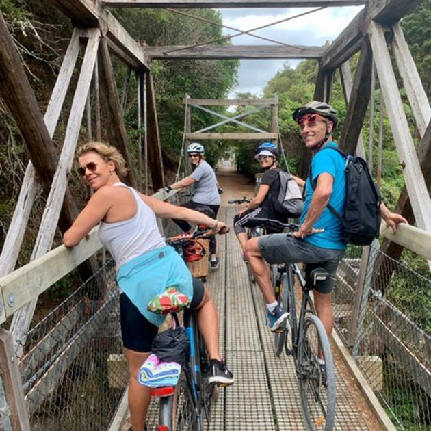 The suspension Twin Bridge at Tuhipa overlooks Oratua Stream and beautiful native forest.