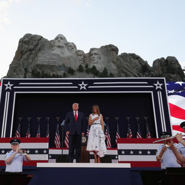 US President Trump and first lady Melania Trump at South Dakota's Independence Day Mount Rushmore...