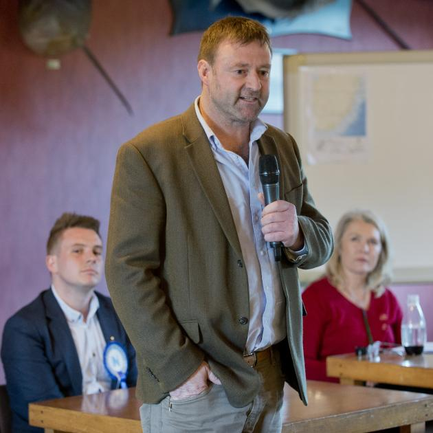 New Zealand First list MP Mark Patterson speaks at an election forum at the Tautuku Fishing Club...