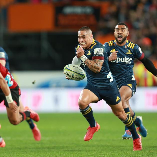 Aaron Smith breaks through the middle during the first half against the Crusaders in Dunedin....