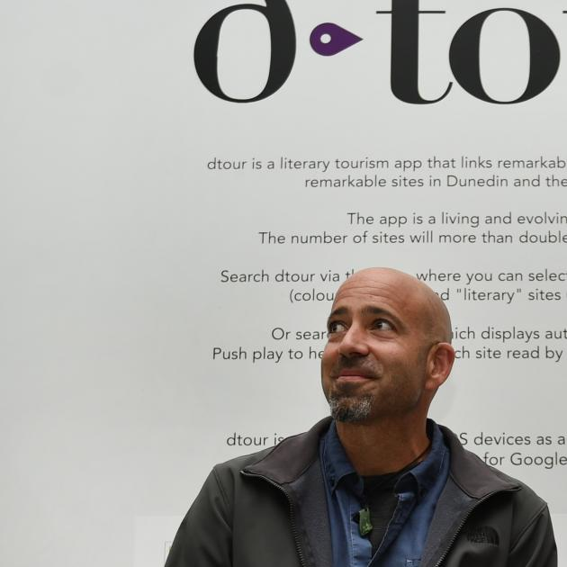 Dtour app project director Dr David Ciccoricco at the app's launch in 2018. Photo: ODT files