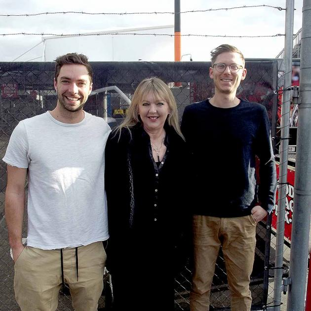 Jacqui Turnbull, with Tom Brown (left) and Rob Cole, the doctors who saved her life. Photo: Matt...