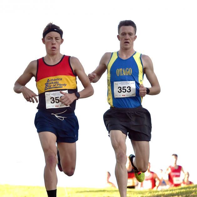 Hayden Wilde, of Waikato-Bay of Plenty (left), and Otago's Janus Staufenberg set the pace in the...
