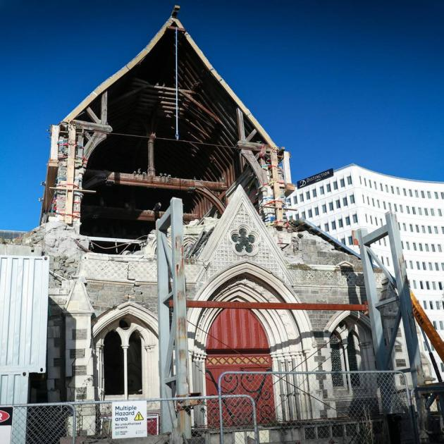 Much of the work going on now is to stabilise the building. Photo: Logan Church / NZH