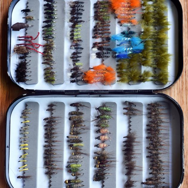 Mike Weddell's kit of fly lures used to tempt a fish.