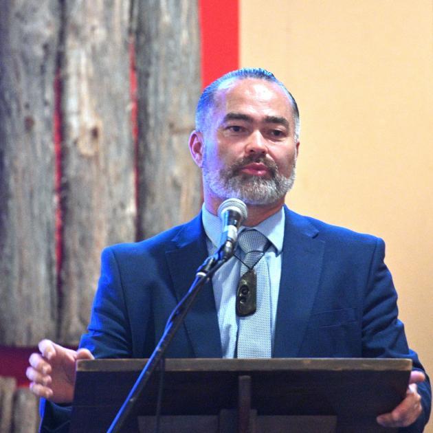 Advance New Zealand co-leader Billy Te Kahika addressed a large crowd at the Arai Te Uru marae...