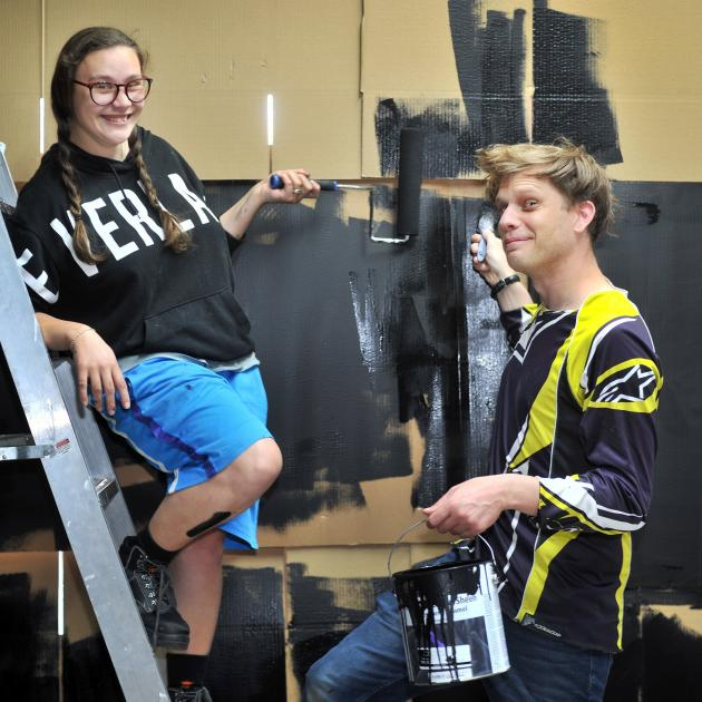 Music and art collective E-Kare Piupiu Turei (left) and Jos van Beek prepare   ''E-Kasino'' at...