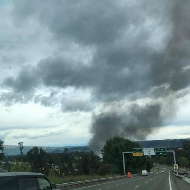 Smoke rises from the blaze in Mosgiel. Photo: Megan Paddon