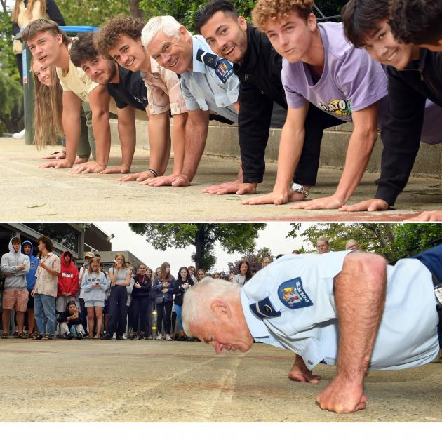 Campus cop John Woodhouse punches out more push-ups than the students in this annual competition....