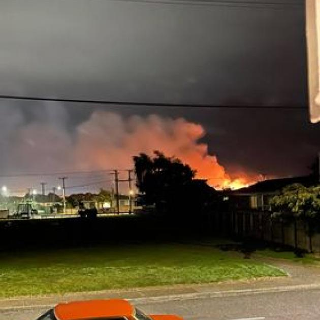 The fire that badly damaged a Bruce St address. Photo: Supplied