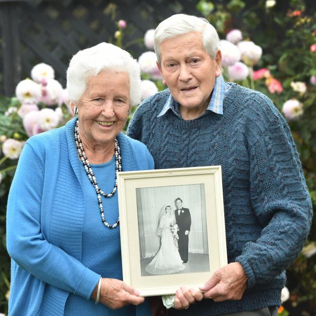 Celebrating 65 years of marriage, Nancy and Frank McGregor at their Mosgiel home. PHOTO: PETER...