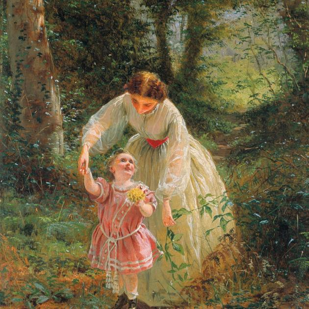 Guide of Childhood: Sketch for Woman's Mission 1, by George Hicks. COLLECTION OF THE DUNEDIN...