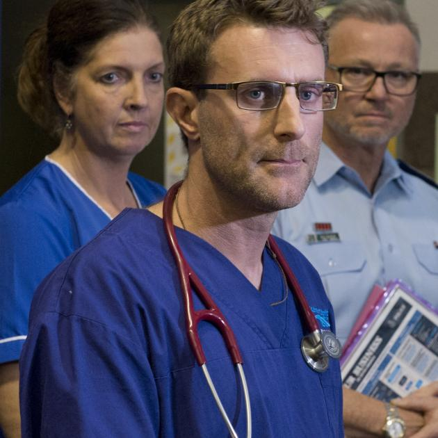 Southern DHB emergency department clinical director Dr Richard Stephenson (front) speaks at a...