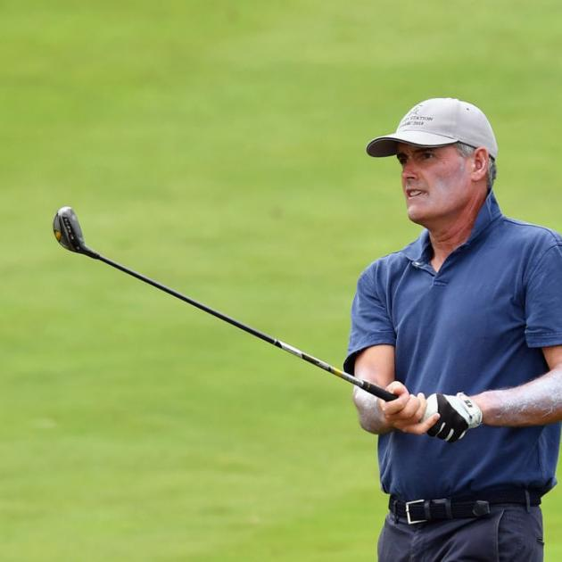 Sir Russell Coutts plays a shot during the New Zealand Golf Open at Millbrook Resort in March...