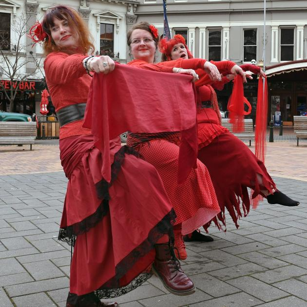 Preparing for the ''Most Wuthering Heights Day Ever'' event in the Octagon in Dunedin yesterday...