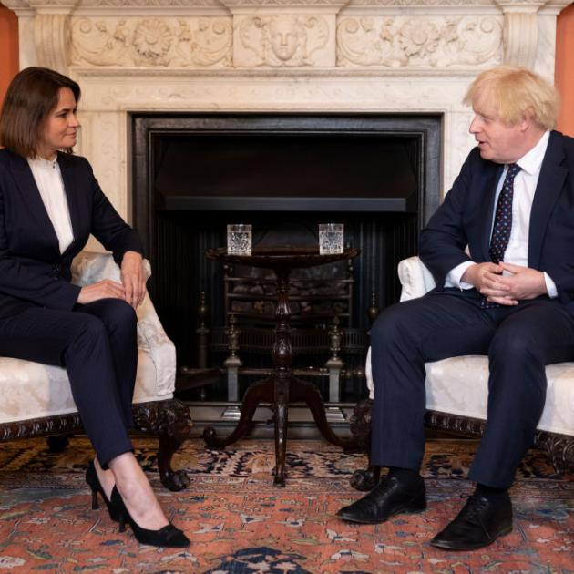 Svetlana Tikhanovskaya met with British Prime Minister Boris Johnson at 10 Downing Street this...