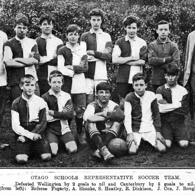 The Otago schools' representative soccer team which defeated Wellington 2-0 and Canterbury 5-0. —...