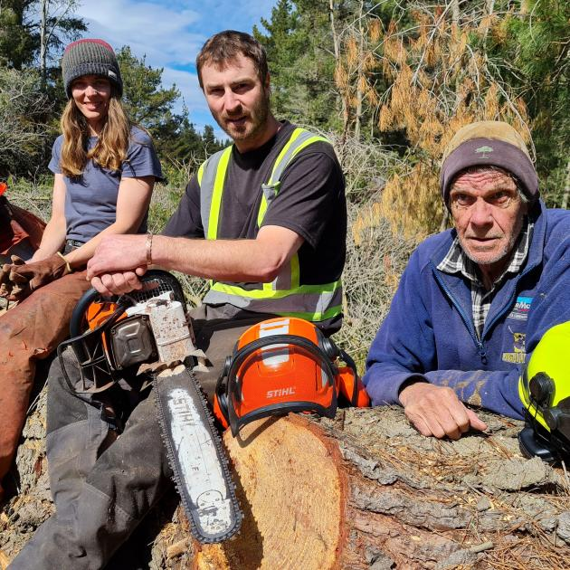 For nearly two weeks foresters (from left) Lauren Queree, Dan Stewart and Peter Fleming have been...