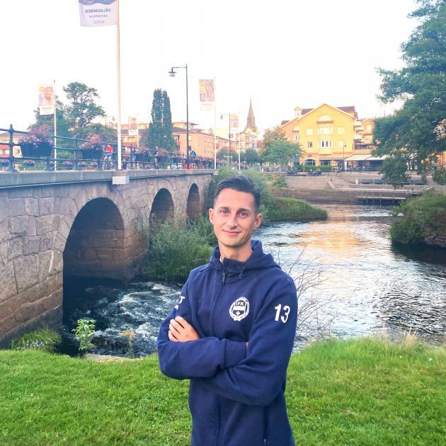Dunedin-born footballer Joel Stevens takes a break in Varnamo, where he plays for IFK Varnamo in...
