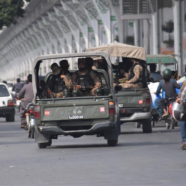 Pakistan security officials outside the Pindi Stadium in Rawalpindi. Photo: Getty Images