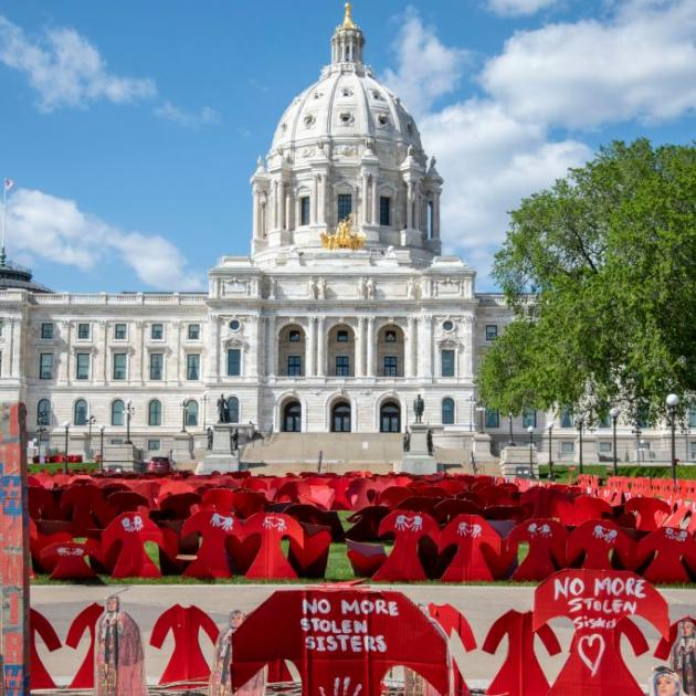Memorial to the missing and murdered Indigenous women of America at the capitol in St. Paul, Minnesota. Photo: Getty Images