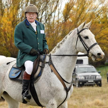 Glynne Smith, riding Jim, has been hunt master for 30 years.