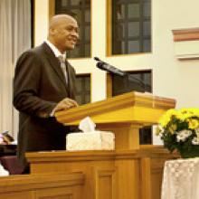 Jonah Lomu speaks at a Mormon church. Photo / Supplied