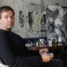 Artist Ben Webb in his Stuart Street studio. Photo by Linda Robertson.