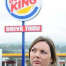 Burger King crew worker Julie Tyler outside the Andersons Bay Rd, Dunedin, outlet. Photo by Craig Baxter.
