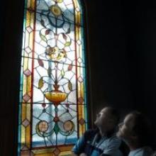 The newly restored stain glass window of Mr Kennedy's Port Chalmers home.  Photo by Peter McIntosh