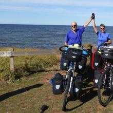 Kel and Sharon Fowler with their trusty bikes on Prince Edward Island, Canada.PHOTO: SUPPLIED