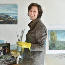Esther Bosshard settles into her new studio space. Photo: Peter McIntosh