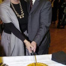 Author Alexa Johnston and Dunedin Mayor Peter Chin cut the birthday veal and ham pie to celebrate the birth of Frances Hodgkins and officially open the Frances Hodgkins: Femme du Monde Exhibition at the Dunedin Public Art Gallery. Photo by Jane Dawber.