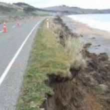 Beach Rd crumbles as coastal erosion takes its toll. Photo by Sally Rae