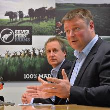 Silver Fern Farms chairman Rob Hewett (right) and chief executive Dean Hamilton. Photo by Gerard...