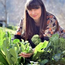 Chloe Humphreys in the vegetable garden at Otago Polytechnic. Photo by Peter McIntosh.