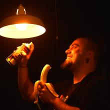 Fortune Theatre lighting designer Garry Keirle paints a bulb in the Fortune Theatre Studio for...