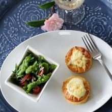 Twice-baked pear and blue cheese souffles. Photo by Christine O'Connor.
