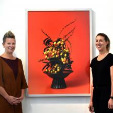 Milford Gallery curators Lisa Wilkie (left) and Vanessa Jones with Ann Shelton's The Courtesan,...