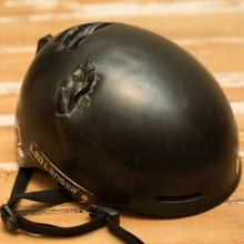 Austin Green's helmet after the crash on The Remarkables earlier this week. Photo: supplied.