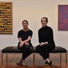 Two of the three co-curators of the Gordon Walters retrospective, Lucy Hammonds (left, Dunedin...